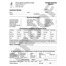 CC-1006 Carpet Cleaning Invoice Pre-Existing Areas